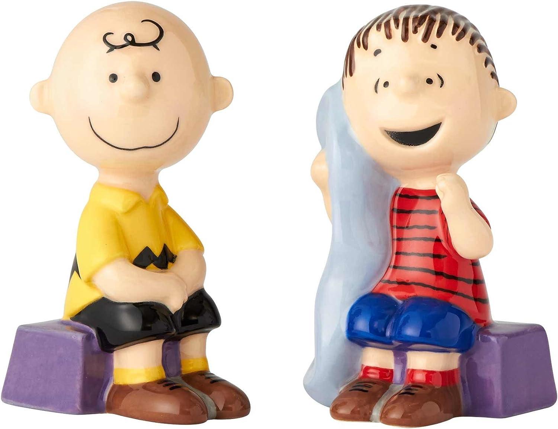 Enesco Peanuts Ceramics Linus and Charlie Brown Salt and Pepper Shakers, 3.5 Inch, Multicolor