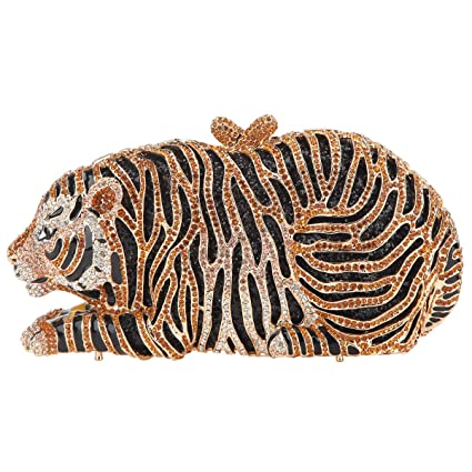 Bonjanvye Big Tiger Clutch Purse Bling Studded Glitter ...