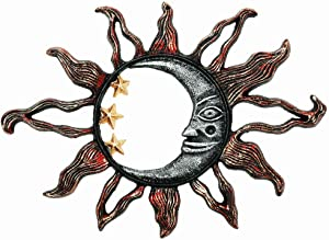 "Sungmor Cast Iron Heavy Duty Sun Face Wall Plaque - Decorative Garden Art Sculpture Wall Decor - Hand-Painted Metal Wall Art Home Decor - Great Decoration for Garden, Kitchen or Anywhere - 13.6""x9.5"""