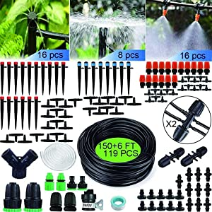 CINSOYEE Drip Irrigation Kit,150 FT Irrigation Watering System with Adjustable Drip Emitters Misting Nozzles Drip Emitters for Long and Spacious Garden Piato