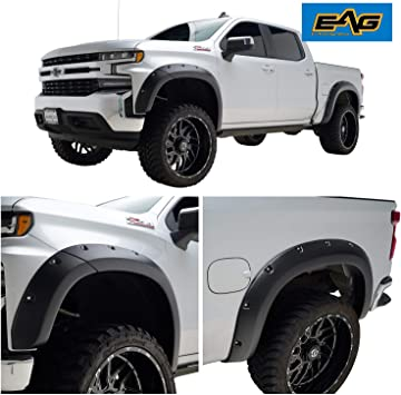 6.6 Ft //8.0 Ft Bed EAG Fender Flares Pocket Bolt On Style with Rivets Fits 19-20 Chevy Silverado 1500