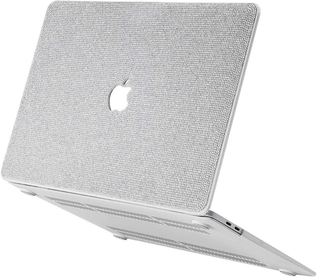 Luxurious Bling Diamond MacBook Case Compatible with 2018-2020 MacBook Air 13 inch A2179 A1932, MacBook Pro 13 inch Case 2016-2020 A2251 A2289 A2159 A1989 A1706 A1708 ,MacBook Air 13 inch, White
