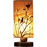 Bieye L10272 Birds in the Tree Wooden Style Table Lamp Night Light with 5 Inch Wide Wood Lampshade Bronze Metal Base for…
