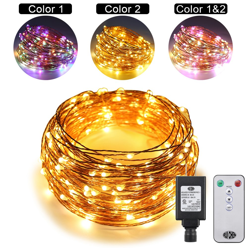 Dual Color LED String Lights Color Changing Plug in, RUICHEN 33Ft 100LEDs 10 Modes Copper Wire Decorative Fairy Lights+Remote Timer for Bedroom, Patio, Garden,Yard (33Ft, Multicolor & Warm White) RC0922-US