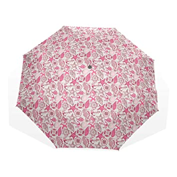 a88c87d885d2 Amazon.com: Anchor Sea Animals And Nautical Pink Travel Umbrella ...
