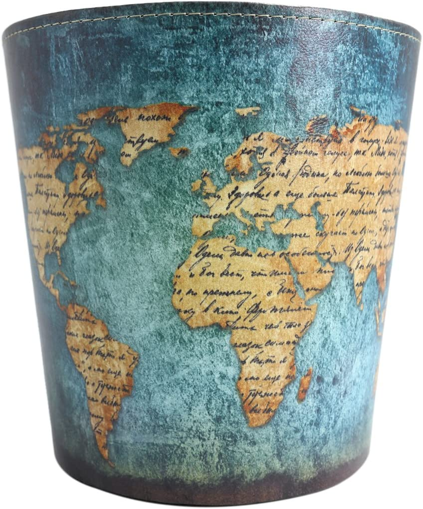 Wastebasket Trash Can for Bedroom Bathroom Kitchen Office Recycling Garbage Bin - World Map Pattern