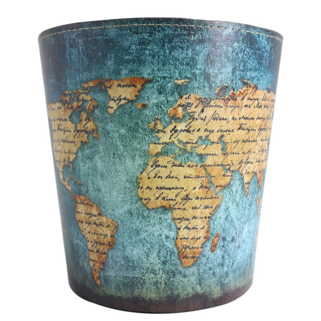 Wastebasket Trash Can for Bedroom Bathroom Kitchen Office Recycling Garbage Bin - World Map Pattern
