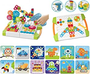 Pegcasso Jr. 227pc Build & Drill Buttons & Gears Educational Construction and STEM Preschool 3D Engineering Tinker Toy. Best Gift for Boys and Girls!