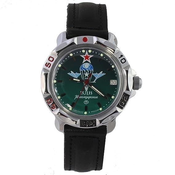 Vostok Komandirskie 811021/2414 A miembros de las fuerzas especiales del ejército de Rusia y cacau VDV de color verde: Amazon.es: Relojes