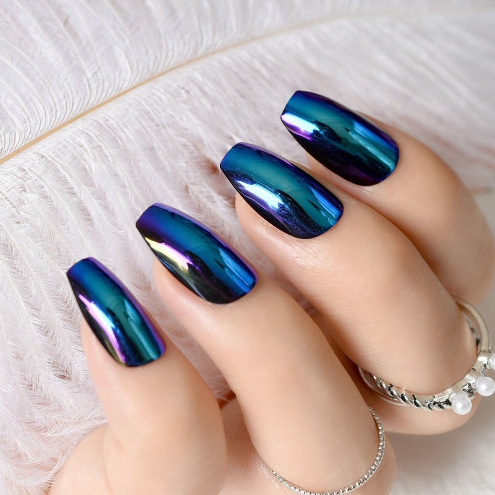 Amazon.com : 24pcs Blue Coffin Design Mirror Nail Art Tip Medium Flat Stiletto Artificial False Nails Women Daily Wear with Glue Sticker Z757 : Beauty