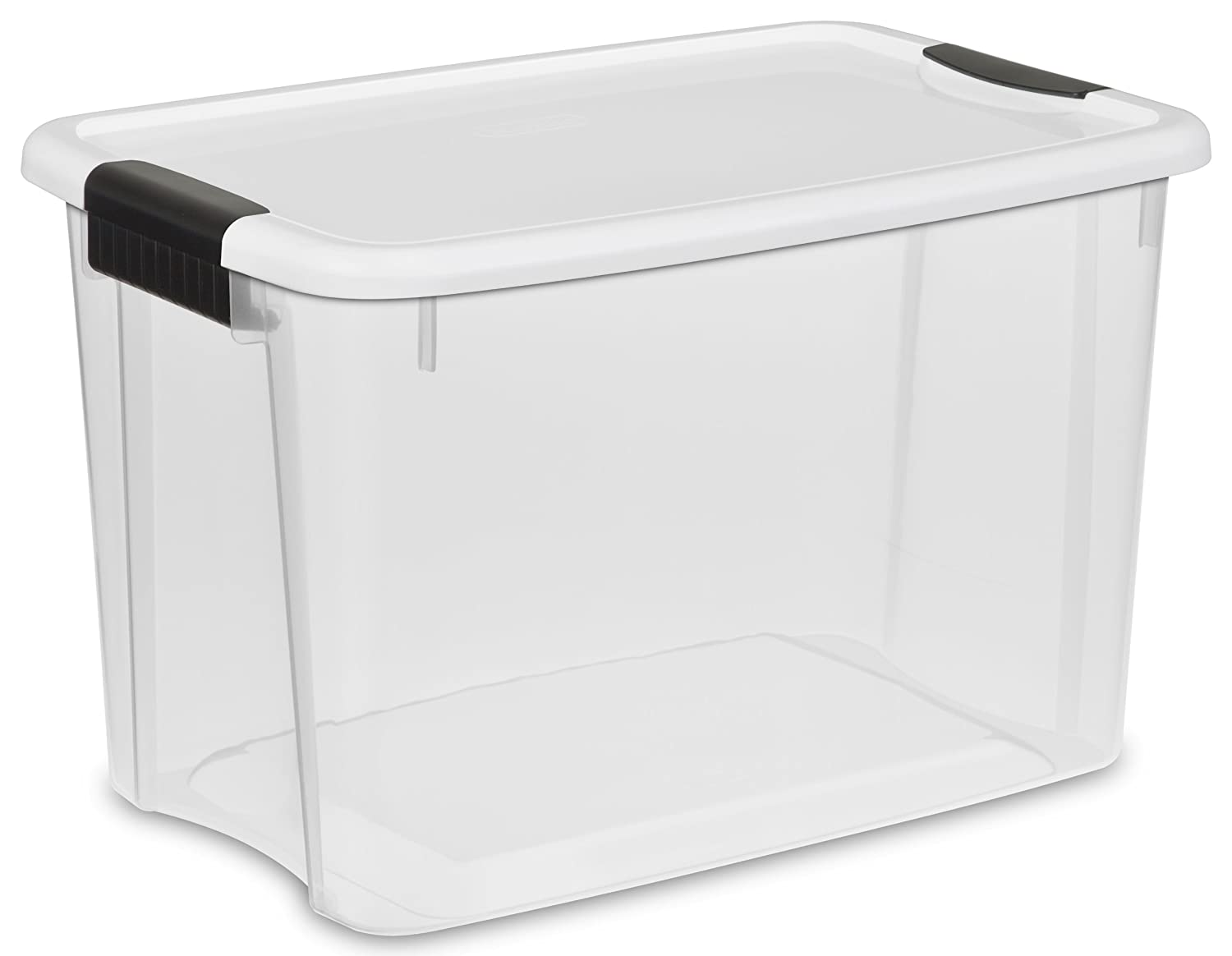 Amazon.com: Sterilite 30 Quart/28 Liter Ultra Latch Box, Clear With A White  Lid And Black Latches, 12 Boxes: Kitchen U0026 Dining