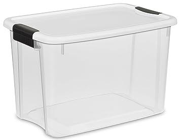 Sterilite 19859806, 30 Quart/28 Liter Ultra Latch Box, Clear With A White
