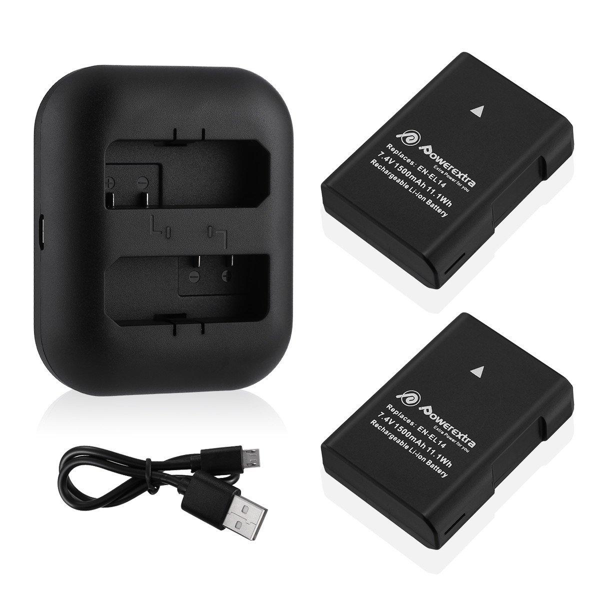 Powerextra 2パック交換用バッテリーとデュアルバッテリー充電器for Nikon en-el14、en-el14 a、Nikon p7000 , p7100 , p7700 , p7800 , d3100 , d3200 , d3300 , d5100 , d5200 , d5300 , DF B01N6KVZL3