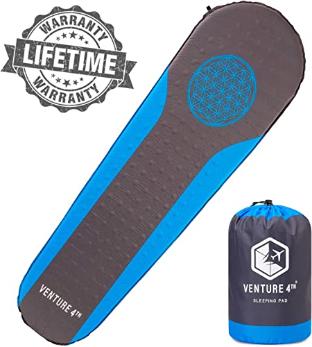 Self Inflating Sleeping Pad – No Pump or Lung Power Required – Warm, Quiet and Supportive Mattress For a Comfortable Night s Sleep – Compact and Ultra Light Mat – Ideal For Backpacking and Camping