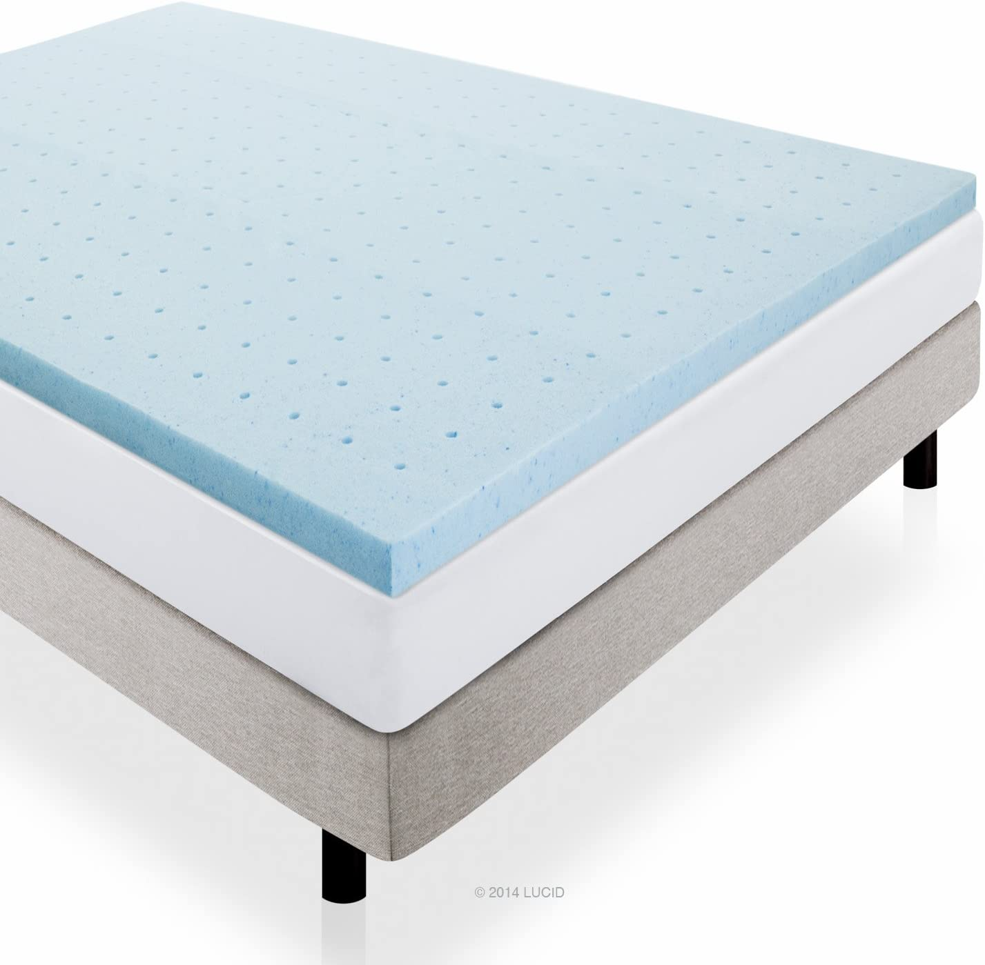 LUCID 2 Gel Infused Ventilated Memory Foam Mattress Topper, Full