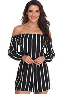 de25f9b0a70 MISS MOLY Womens Playsuits Rompers Jumpsuits Ladies Off Shoulder Sexy  Strapless Long Sleeves Waist Tie