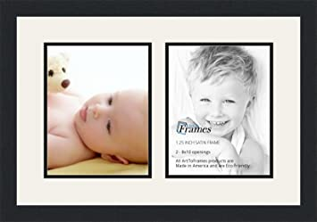 arttoframes collage photo frame double mat with 2 8x10 openings and satin black frame