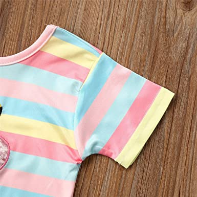 Toddler Kid Girl Flamingo Rainbow Striped Short Sleeve T-Shirt Top Plush Ball Skirt Set Baby 2Pcs Clothes