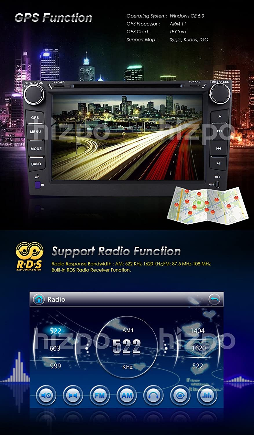 Amazon.com: hizpo for Toyota Corolla 2007-2011 Car DVD Player 8 Inch Touch Screen GPS Stereo iPhone Music/AM FM Radio/SWC/Bluetooth/3G/AV-IN: Car ...