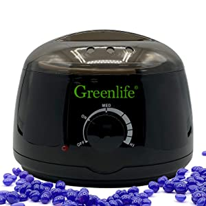 GreenLife Wax Warmer set Wax Pot Machine Only Hair Removal kit Professional Electric Waxing beans Heater Pot Single Machine for Arm Leg Body hair Remover SPA Home Women Men use, More Colors - BLACK