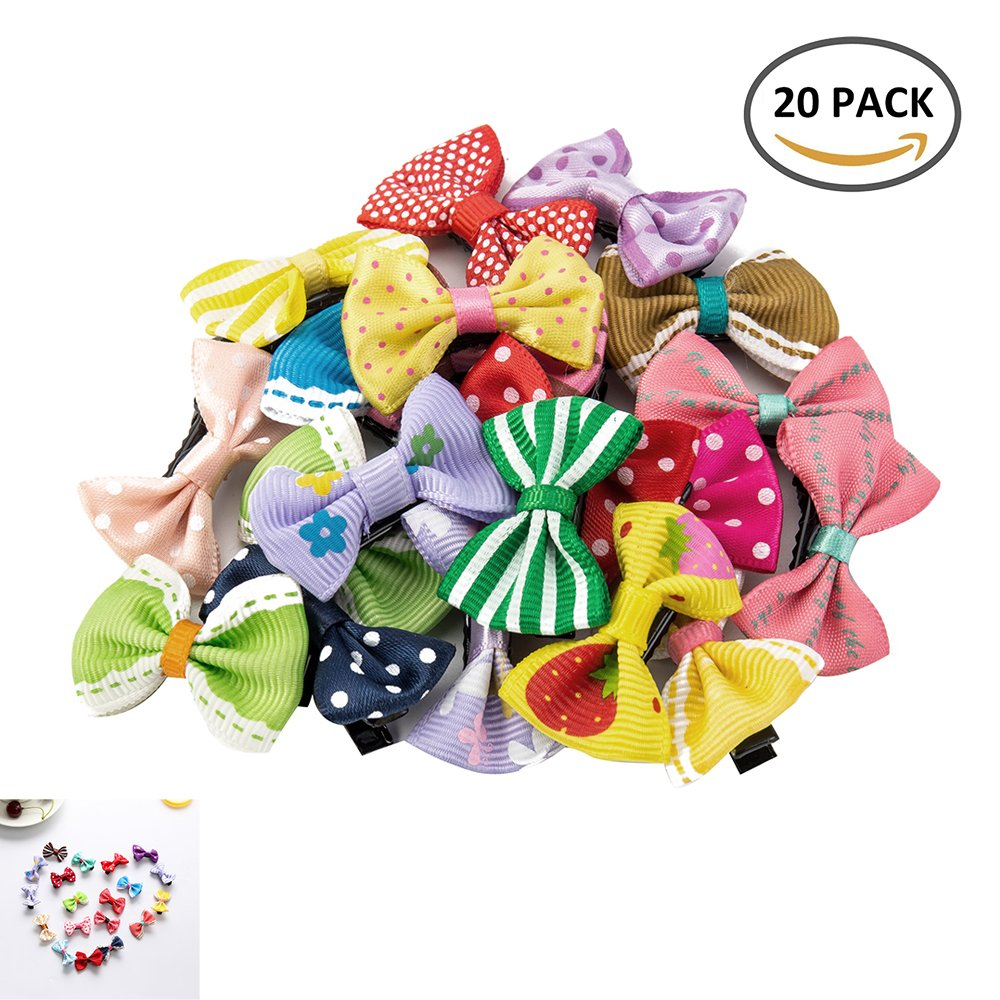 Windyus 20 PCS Tiny Baby Girls Ribbon Fine Hair Bow Alligator Clips Barrettes For Cute Girl Teens Kids Babies Infants Toddlers
