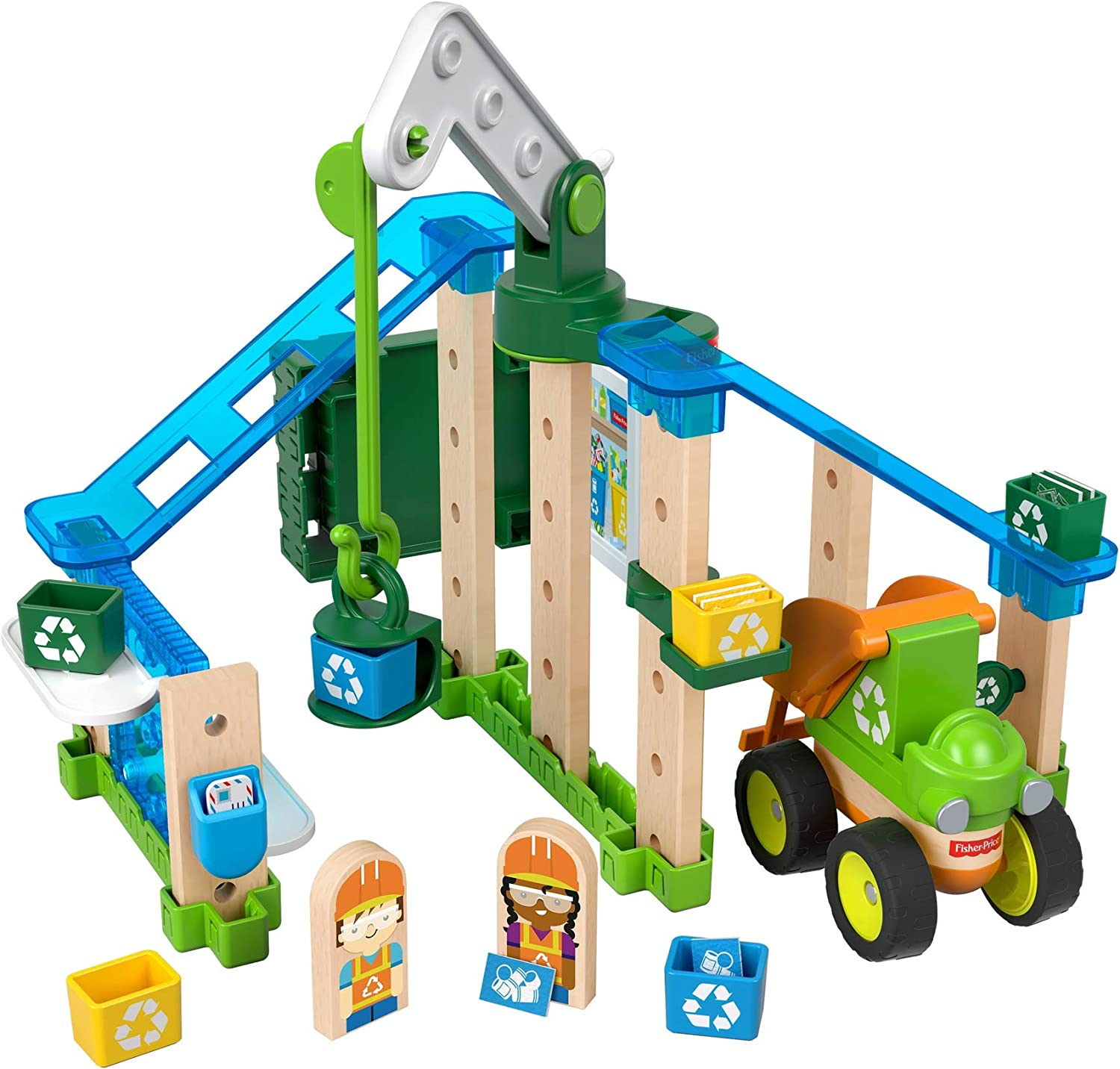 Fisher-Price Wonder Makers Design System Lift & Sort Recycling Center - 35+ Piece Building and Wooden Track Play Set for Ages 3 Years & Up