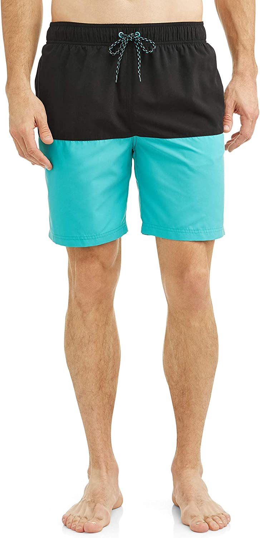 George Rich Black/Aquacade Blue Color Block All Guy Swim Short Trunks