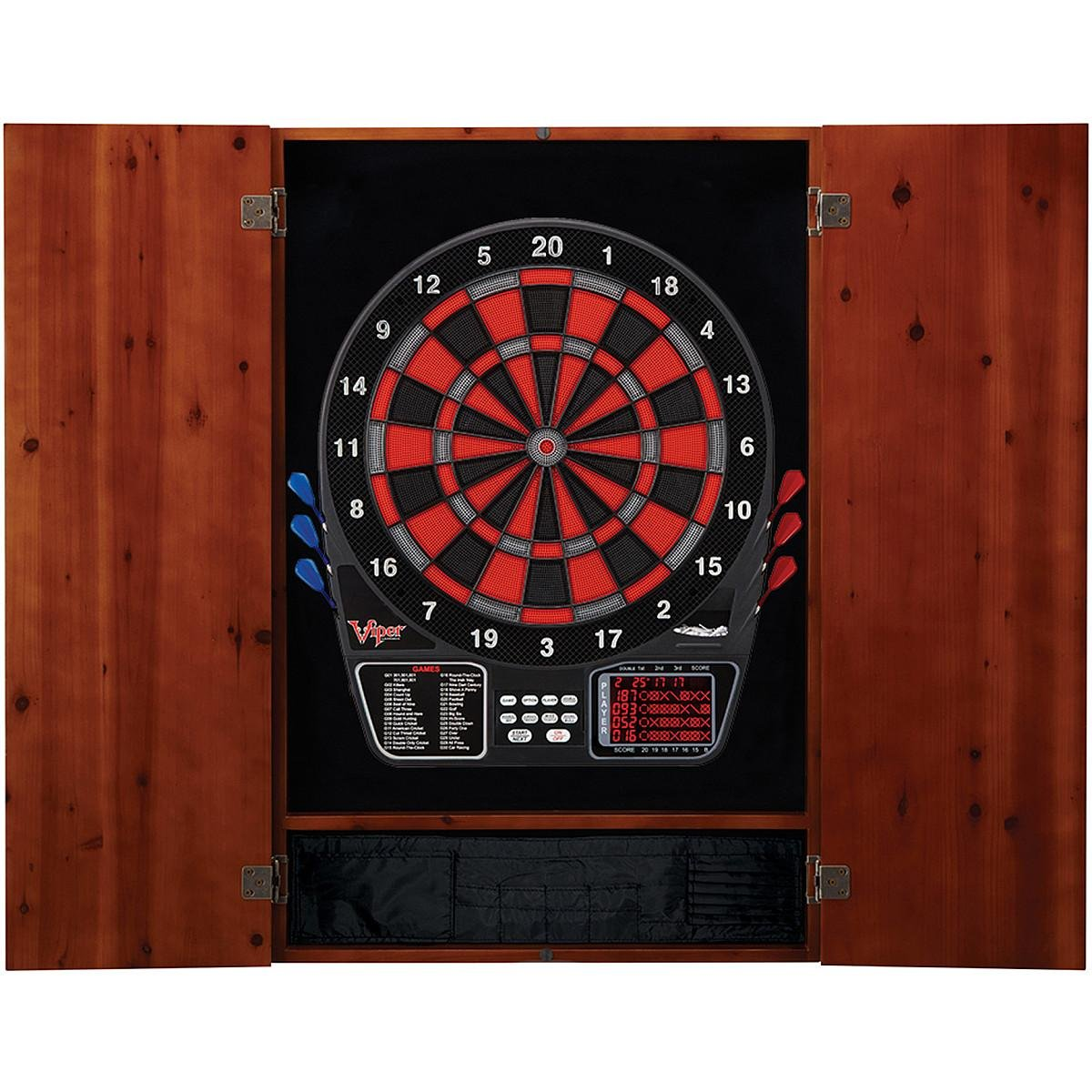 Viper Metropolitan Solid Wood Cabinet & Electronic Dartboard Ready-to-Play Bundle: Deluxe Set (797 Dartboard and Darts), Cinnamon Finish