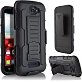 Alcatel One Touch Fierce 2 Case, StarShop IRobot Dual Layer Holster Case with Kickstand and Locking Belt Swivel Clip + Premium HD Screen Protector Black