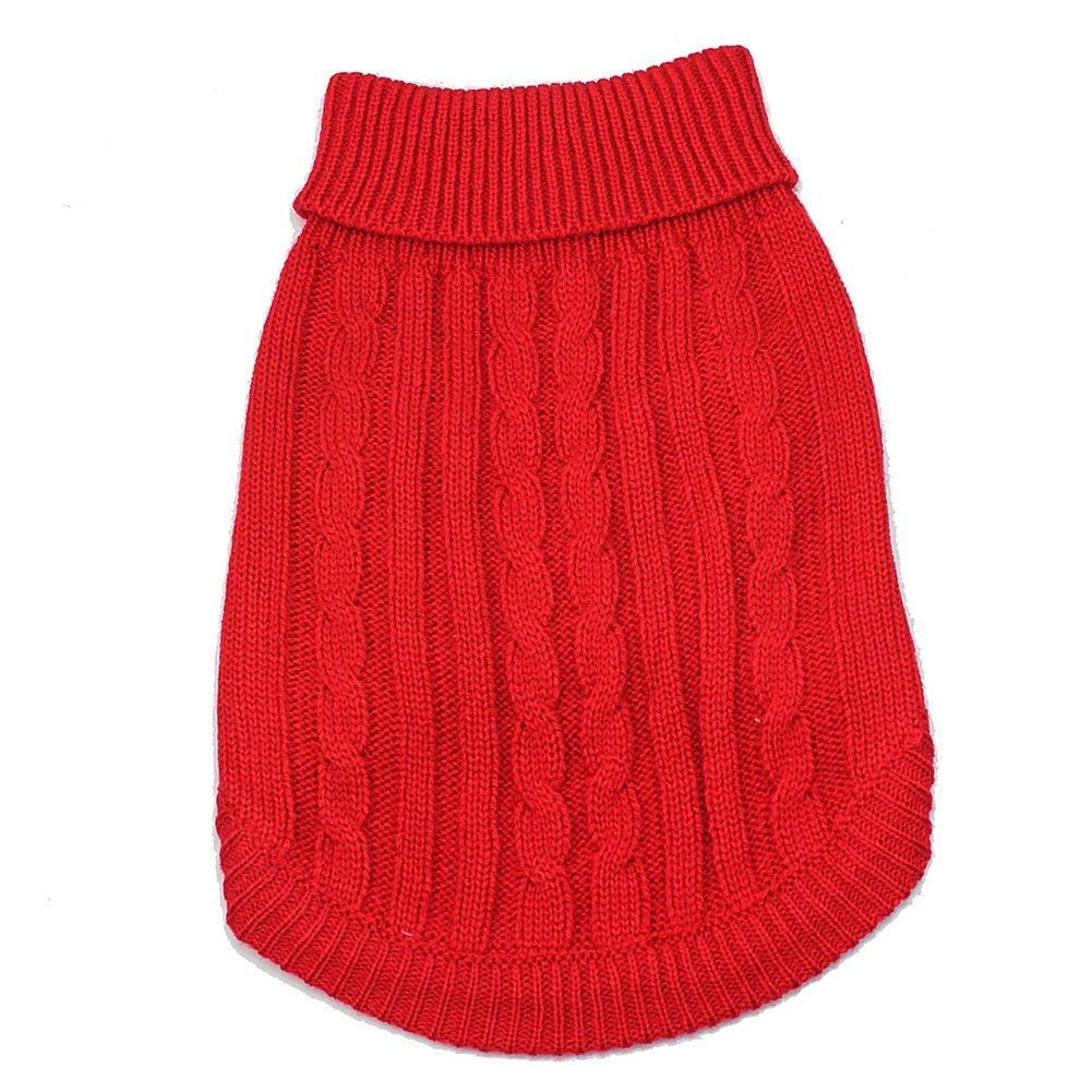 Yevison Premium Quality Pet Dog Classic Knitwear Sweater Warm Winter Puppy Pet Coat Soft Sweater Clothing for Small Dogs S,Red Pet Supplies