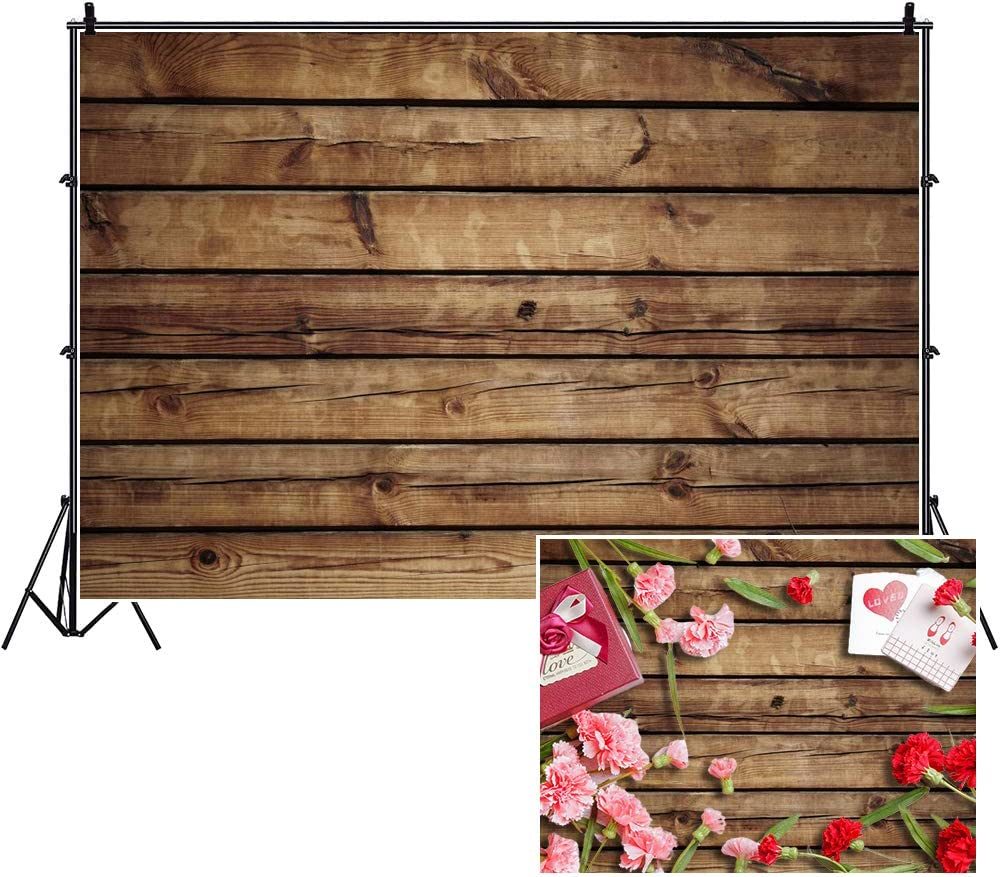 Rustic Wood Food Photography Backdrop,Yeele 7x5ft Vinyl Brown Wooden Plank Wall Floor Photo Background,Baby Shower Birthday Party Cake Table Decoration Banner Newborn Kids Portrait Photoshoot Prop