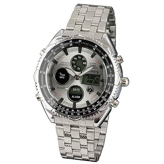 Infantry Hombre Analog de Digital Reloj de pulsera siber Fecha iluminación exterior LCD Digital Banda de acero inoxidable reloj: Amazon.es: Relojes