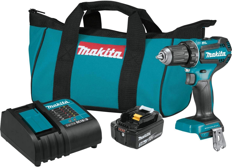 Makita XFD131 18 V LXT Kit de taladro de conductor sin escobillas de iones de litio, 0.5 pulgadas (3.0 Ah)