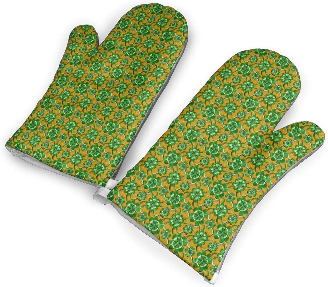 Victoria-Ai Four Leaf Clover Shamrock Oven Mitts Premium Heat Resistant Kitchen Gloves Non-Slip Easy to Use Baking Mittens for BBQ/Cooking/Grilling