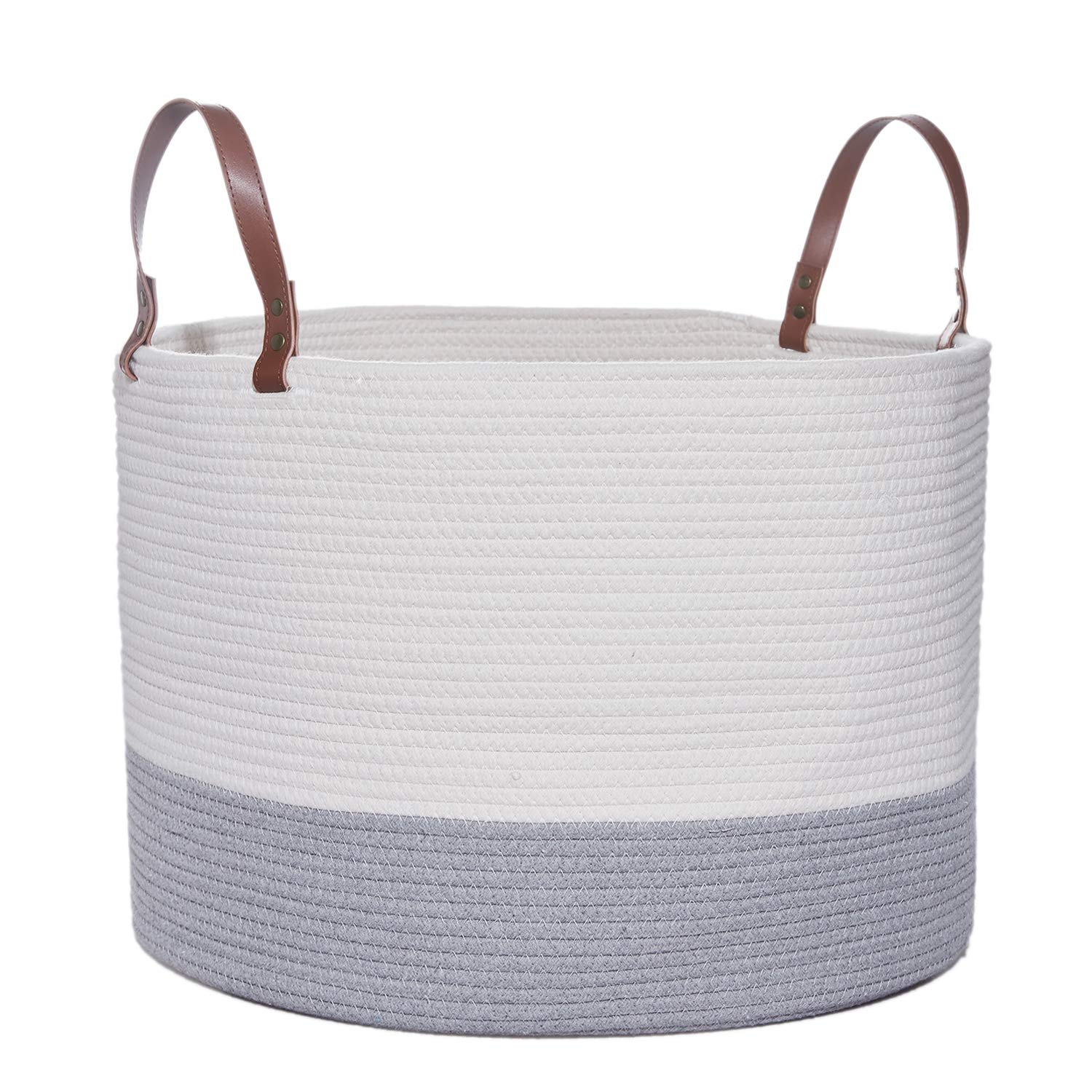 Large Woven Cotton Rope Storage Basket, Baby Laundry Hamper Storage Bin Baskets with Leather Handles for Organize Toys, Blanket, Diaper or Home Decor