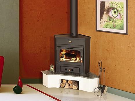 Estufa de leña Corner modelo Log quemador de combustible sólido 12 kW Prity Emb