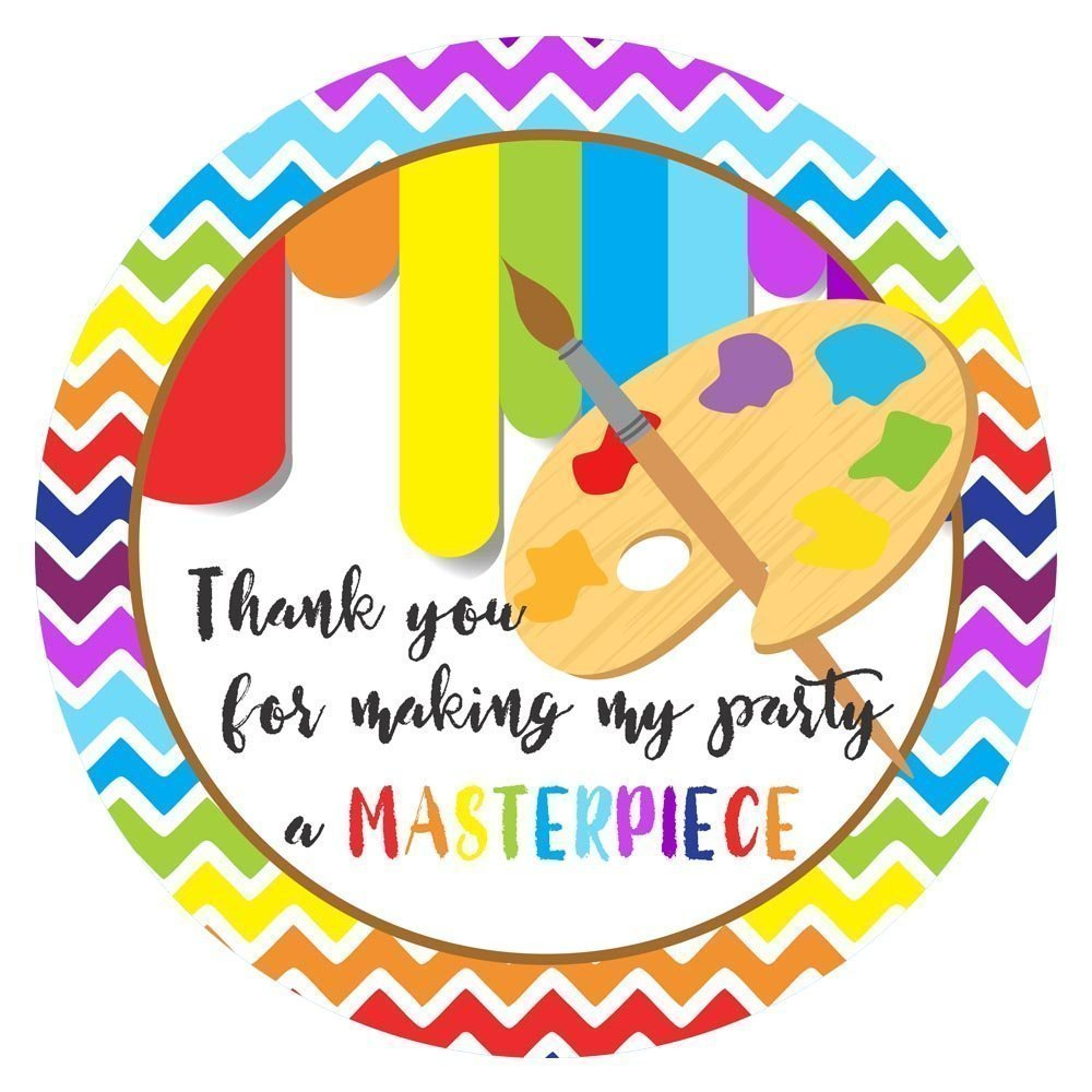 Art Party Thank You Sticker Labels - Boy Girl Kids Birthday Baby Shower Party Supplies - Set of 30