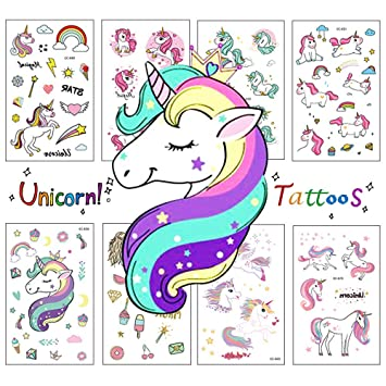 Zehhe Pack of 16 Sheets Unicorn Temporary Removable Tattoos for Kids Girls  Boys Birthday Party,...