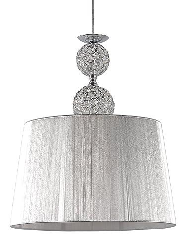 Lampara colgante habitación o salón | Cromo, cristal y pantalla hilo Plata | 1 luz | Ideal para habitación o salón | Admite LED | Elegante, moderna, ...