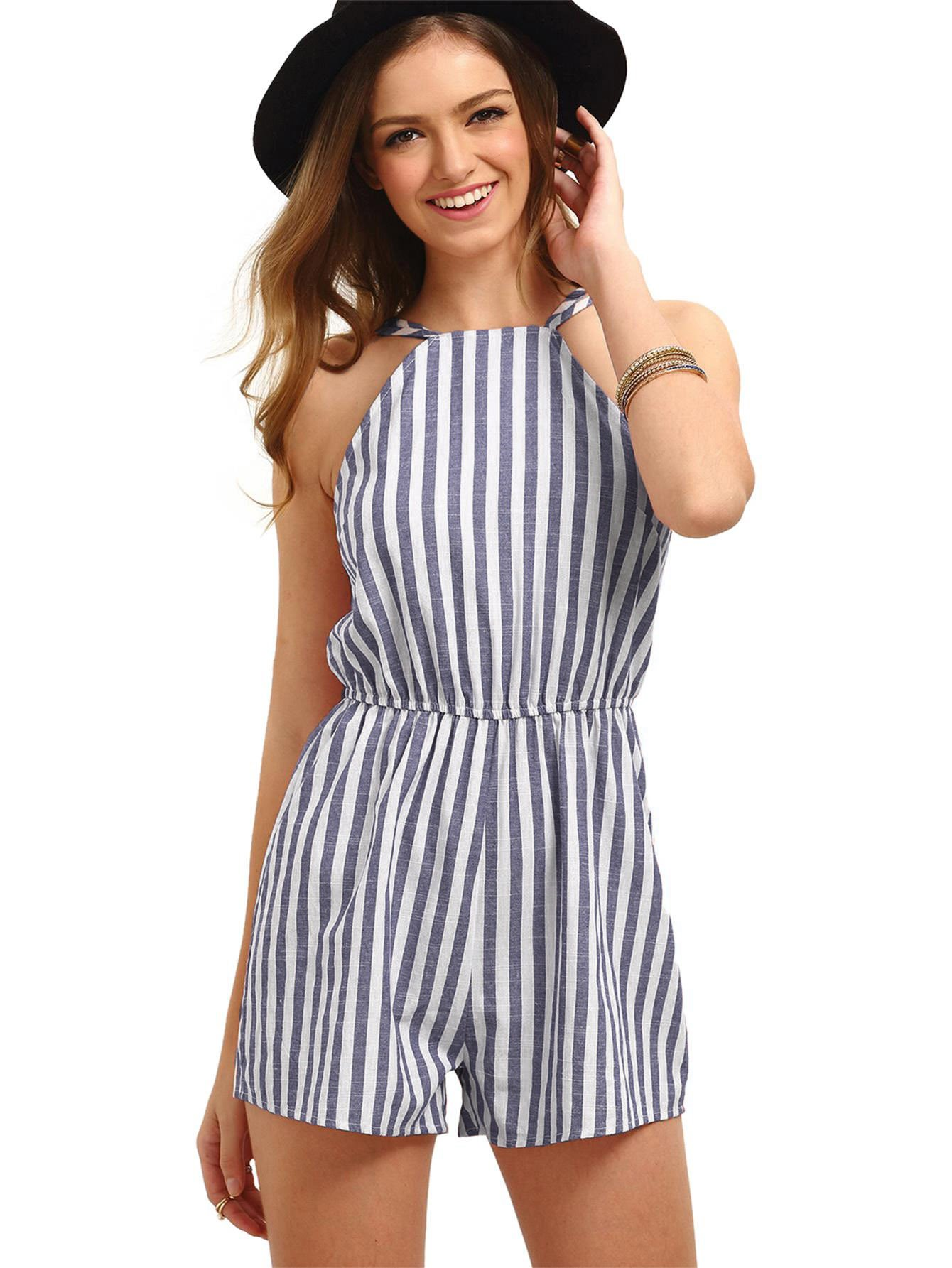 Romwe Women's Casual Striped Sleeveless Halter Sexy Short Romper Jumpsuit Navy M