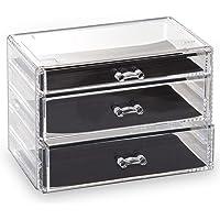 BINO 3 Drawer Acrylic Jewelry and Makeup Organizer, Clear Cosmetic Organizer Vanity Storage Display Box Make Up…