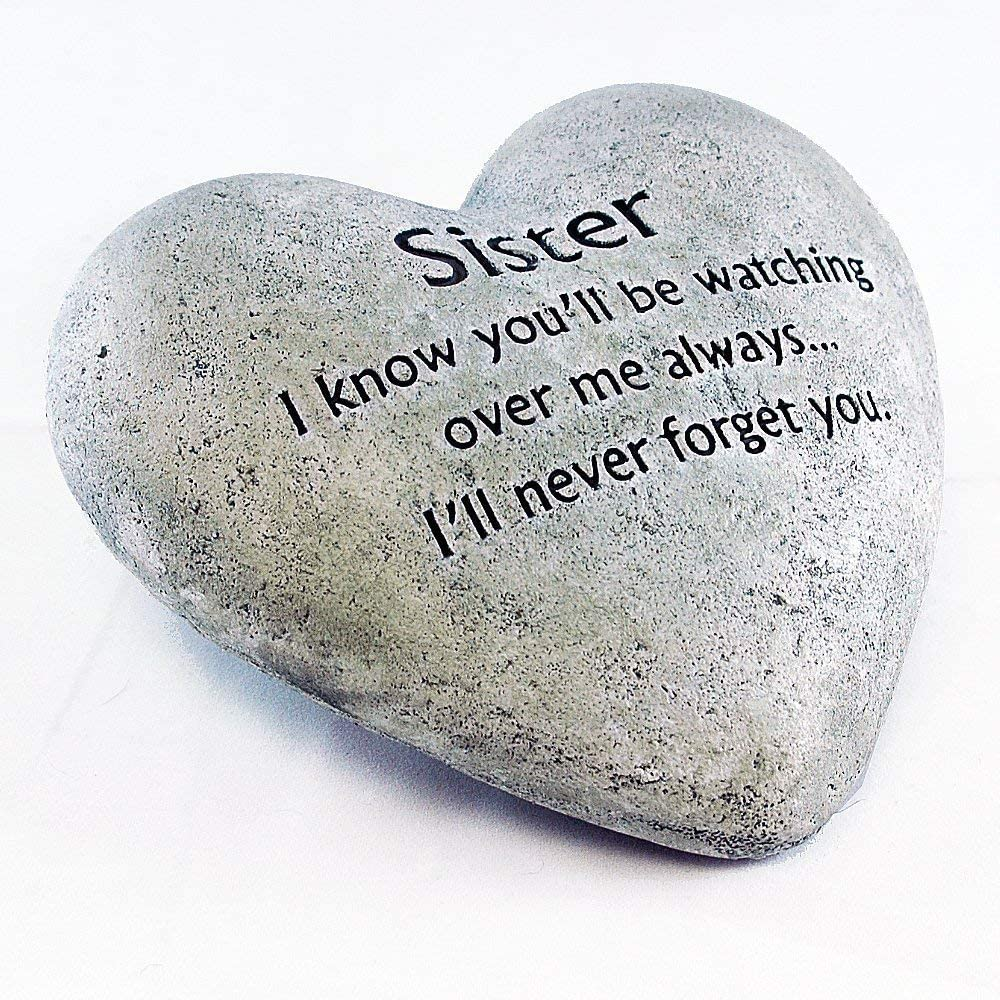 Party Explosions Heart Shaped Memorial Stone Indoor Decor for Sister