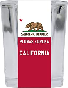 Plumas Eureka California Souvenir 2 Ounce Square Shot Glass