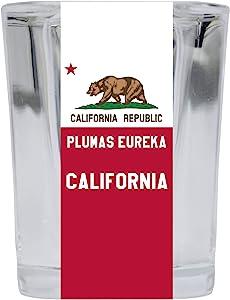 Plumas Eureka California Souvenir 2 Ounce Square Shot Glass 4 Pack