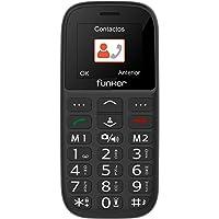 Teléfono Móvil Funker - C65 Negro Easy Plus- para Personas Mayores con botón SOS y Base cargadora. Cámara de Fotos y…