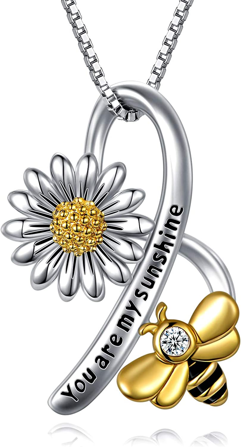 LONAGO Sunflower Pendant Necklace 925 Sterling Silver You Are My Sunshine Sunflower Necklace Jewelry with White Cubic Zirconia