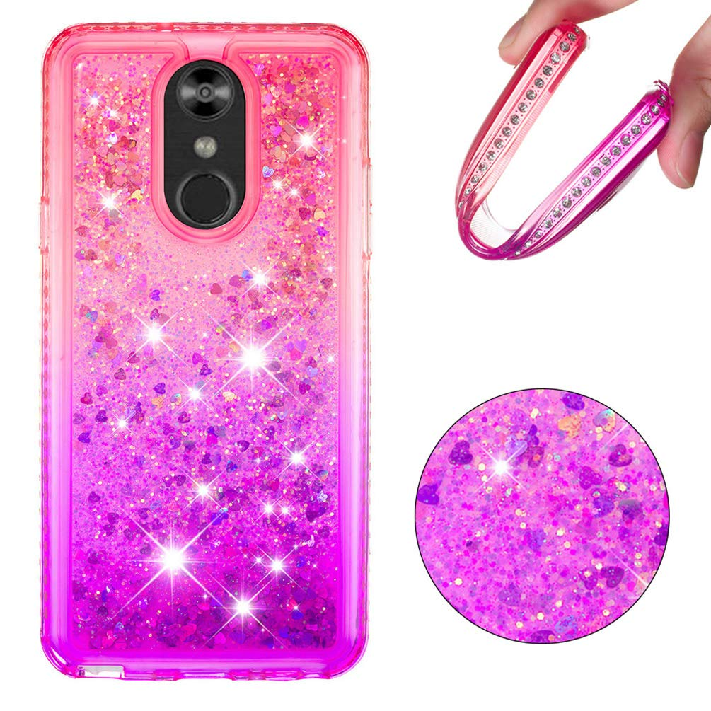 LG Stylo 4 Case, Clear Liquid Glitter Case Color-Gradient Bling Shiny Glitter Sparkle Flowing Moving Hearts Diamonds Frame Ultral Slim Shock Absorbtion TPU Bumper Shell Cover for LG Q Stylus - Pink by KASOS (Image #2)