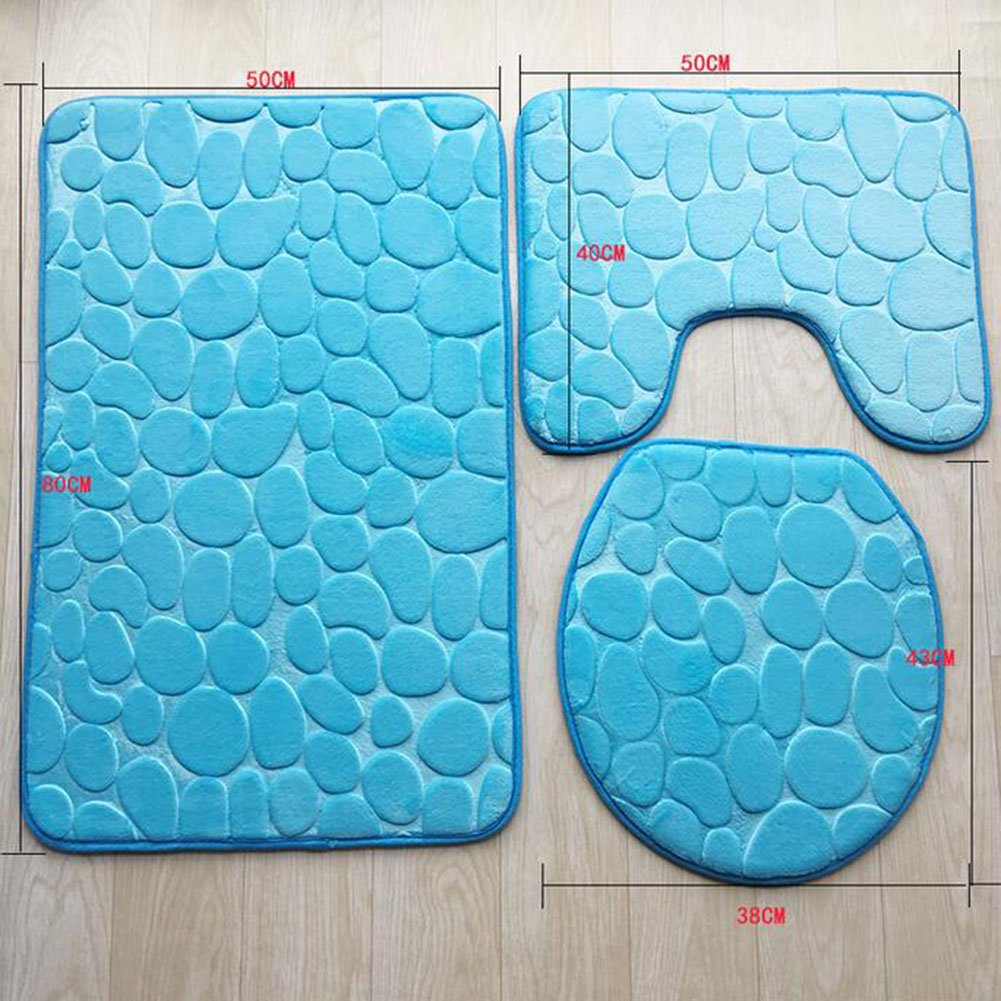 Bath Mat Set 3 Piece Luxury Microfibre Polyester Non Slip Mat Set ( Color : 1 ) by HUAN (Image #2)