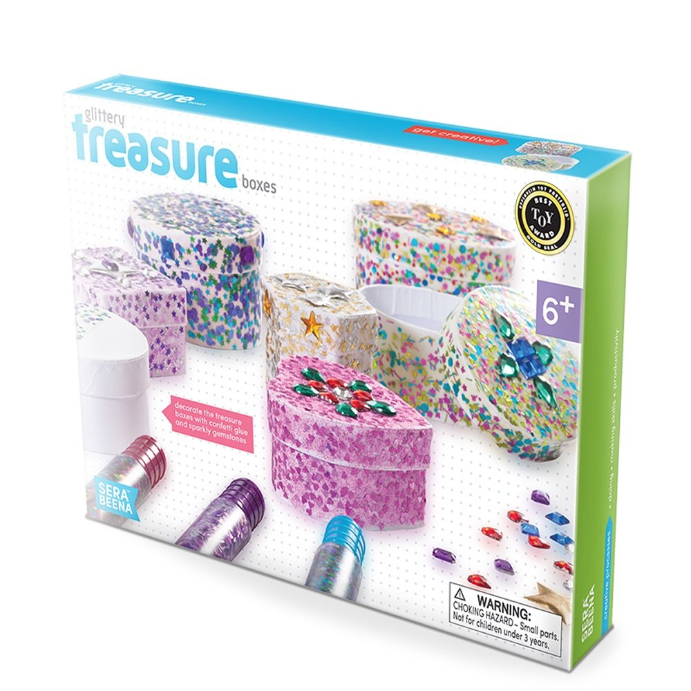 Serabeena Decorate Your Own Glittery Treasure Boxes - Creative Kit for Girls 551685