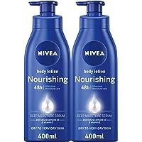 NIVEA Nourishing Body Lotion, Almond Oil, Extra Dry Skin, 2 x 400 ml
